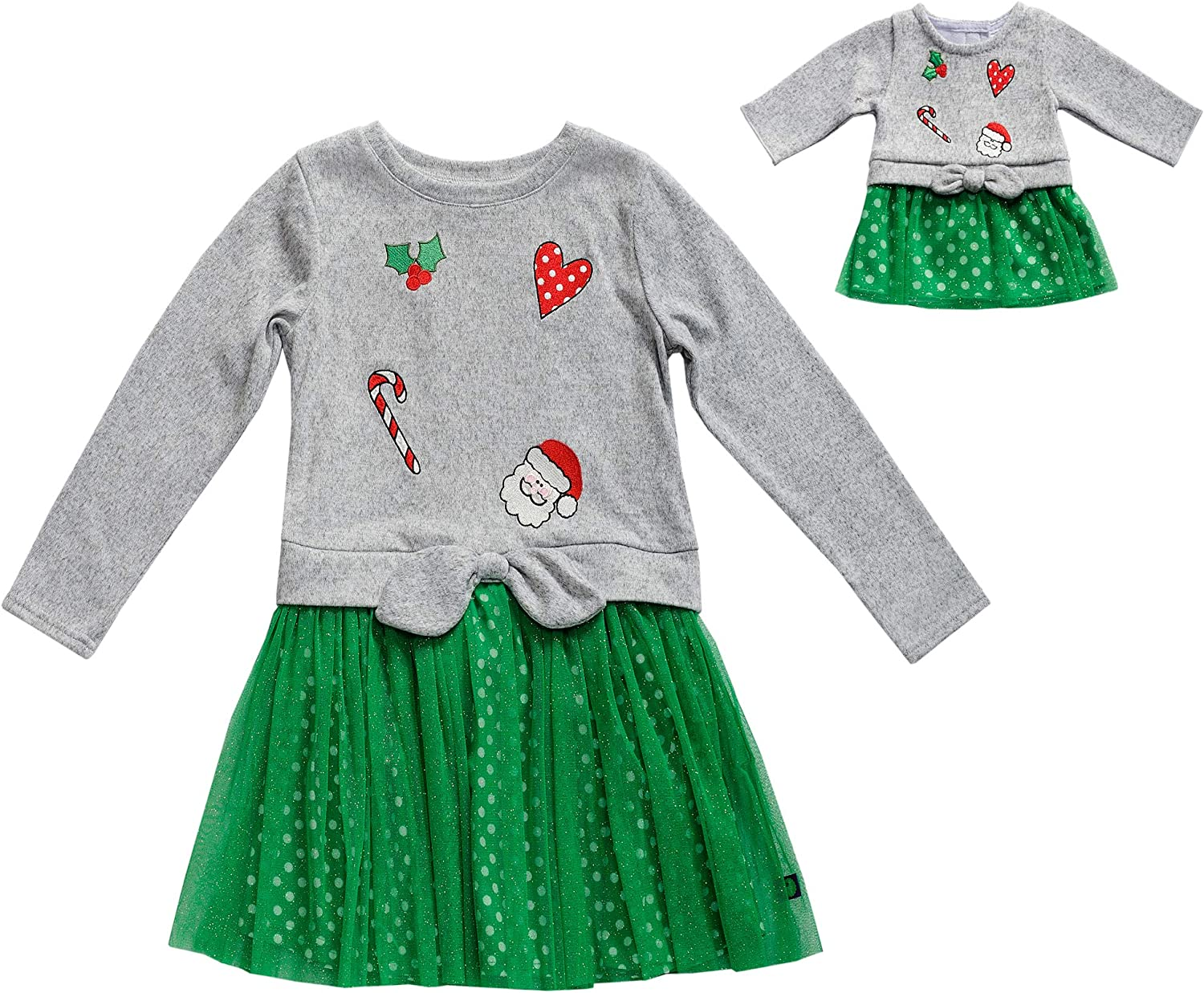 Dollie /& Me Girls Apparel Printed Long Sleeve Pajamas with Matching Doll Outfit