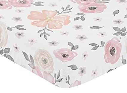 Sweet Jojo Designs Blush Pink, Grey and White Baby or Toddler Fitted Crib Sheet for Watercolor Floral Collection by