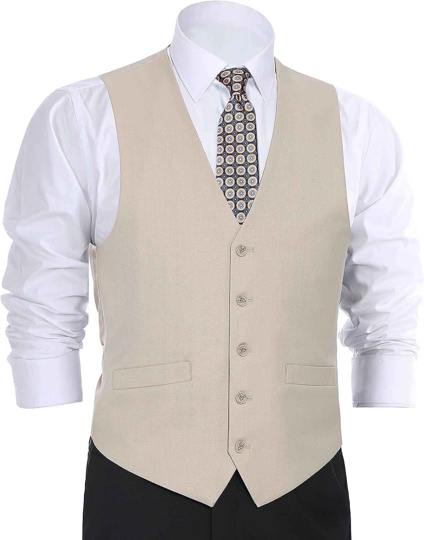 CHAMA Men's Suit Dress Vest Waistcoat Regular Fit Vest - Many Colors (46 Regular, Beige)
