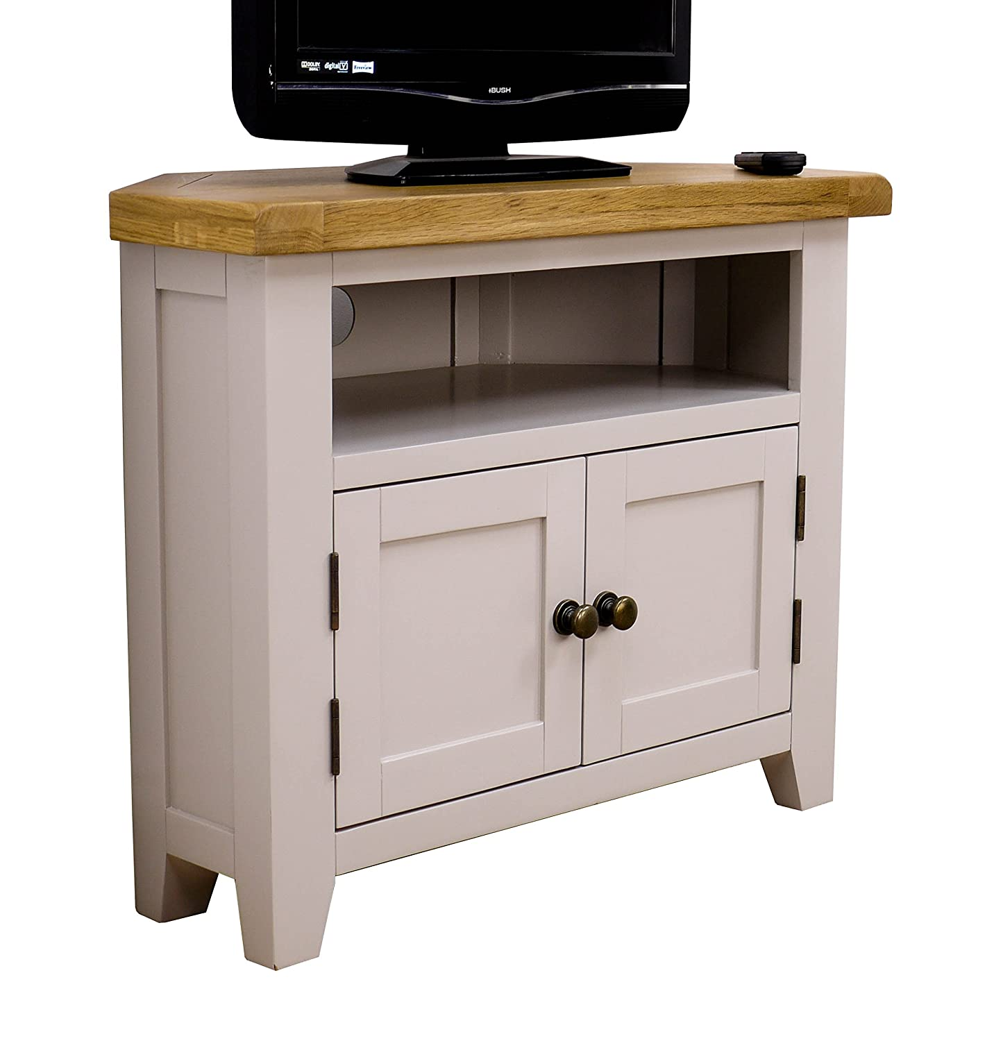 Arklow Painted Oak Dovetail Grey Corner TV Stand / Oak Corner TV Cabinet / Living  Room Part 27