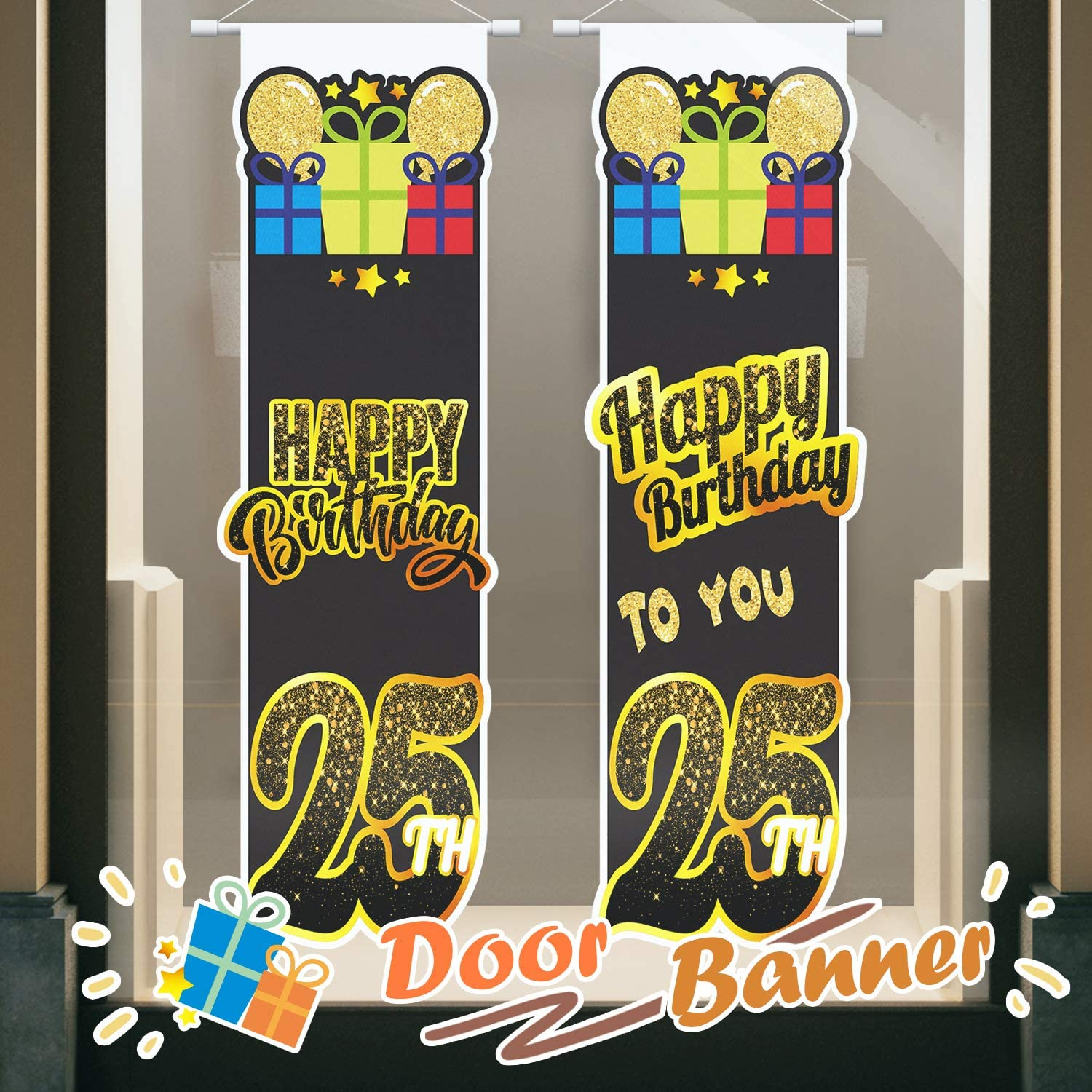 PAKBOOM Happy 25th Birthday Black Yard Sign Door Banner 25 Years Old Decorations Party Supplies for Men Women