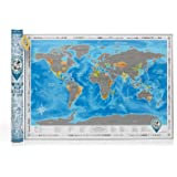 "Discovery Map World - World Map with Scratch off & Detailed Travel Content. Large Size 24.4""x34.6"". Blue Map with Silver Scratch. Track Your Adventures on Scratch Poster. ORIGINAL. (Map in Tube)"
