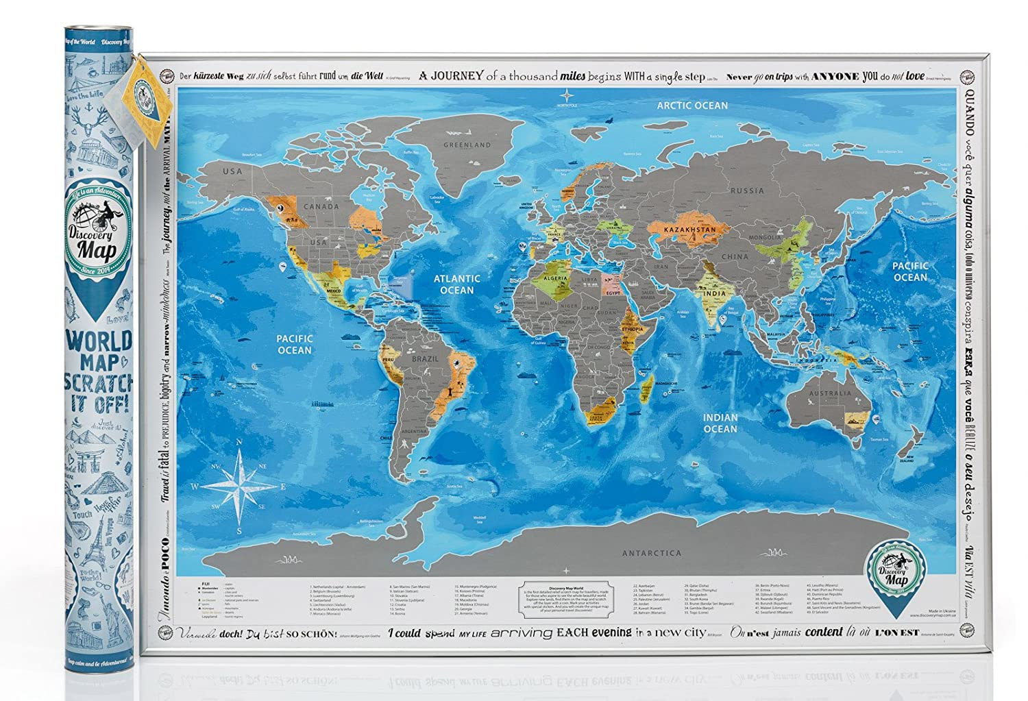 Discovery Map World with Scratch off Detailed Travel Content