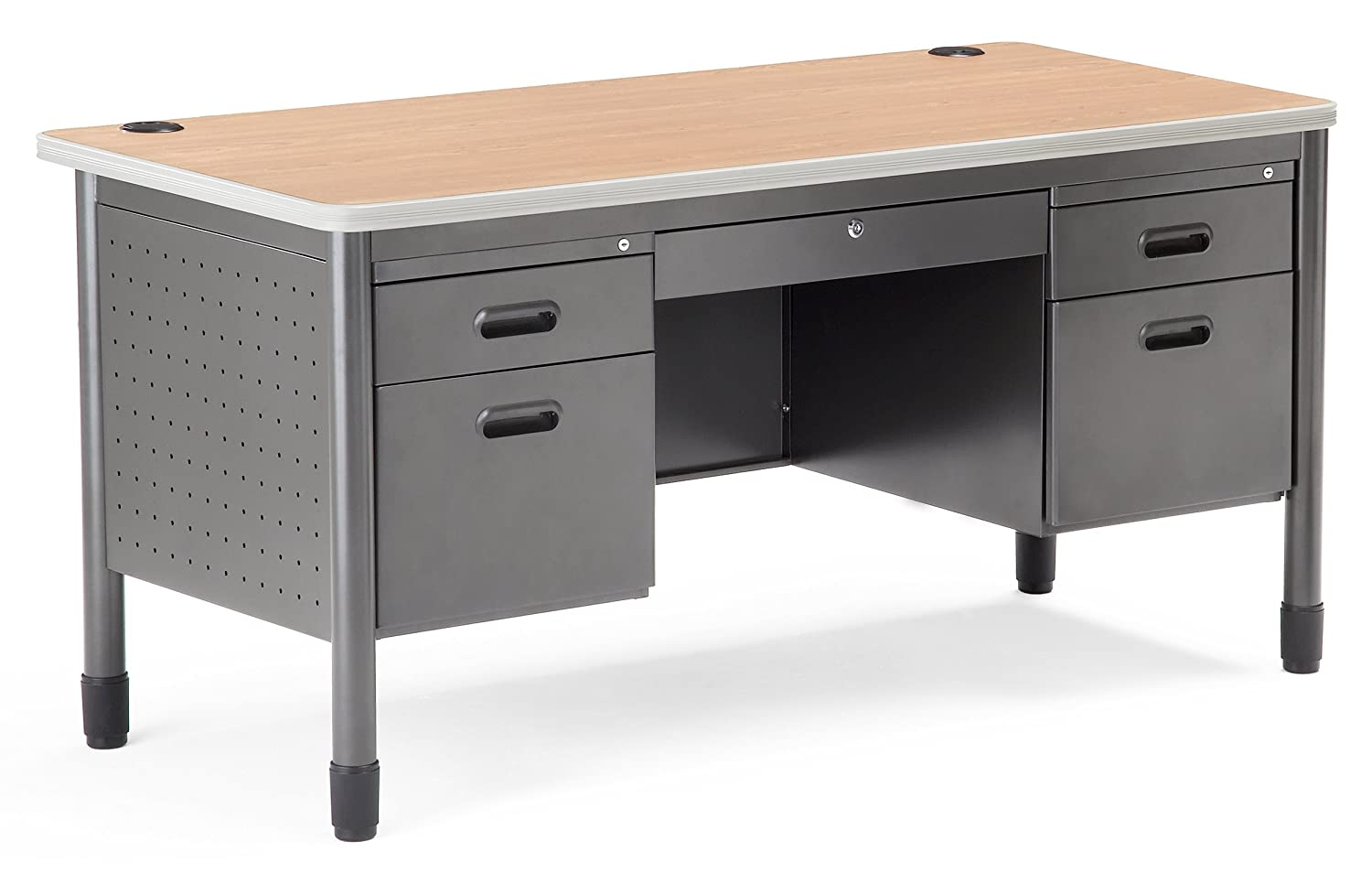 Amazon.com: OFM Mesa Series 5-Drawer Steel Desk with Laminate Top ...