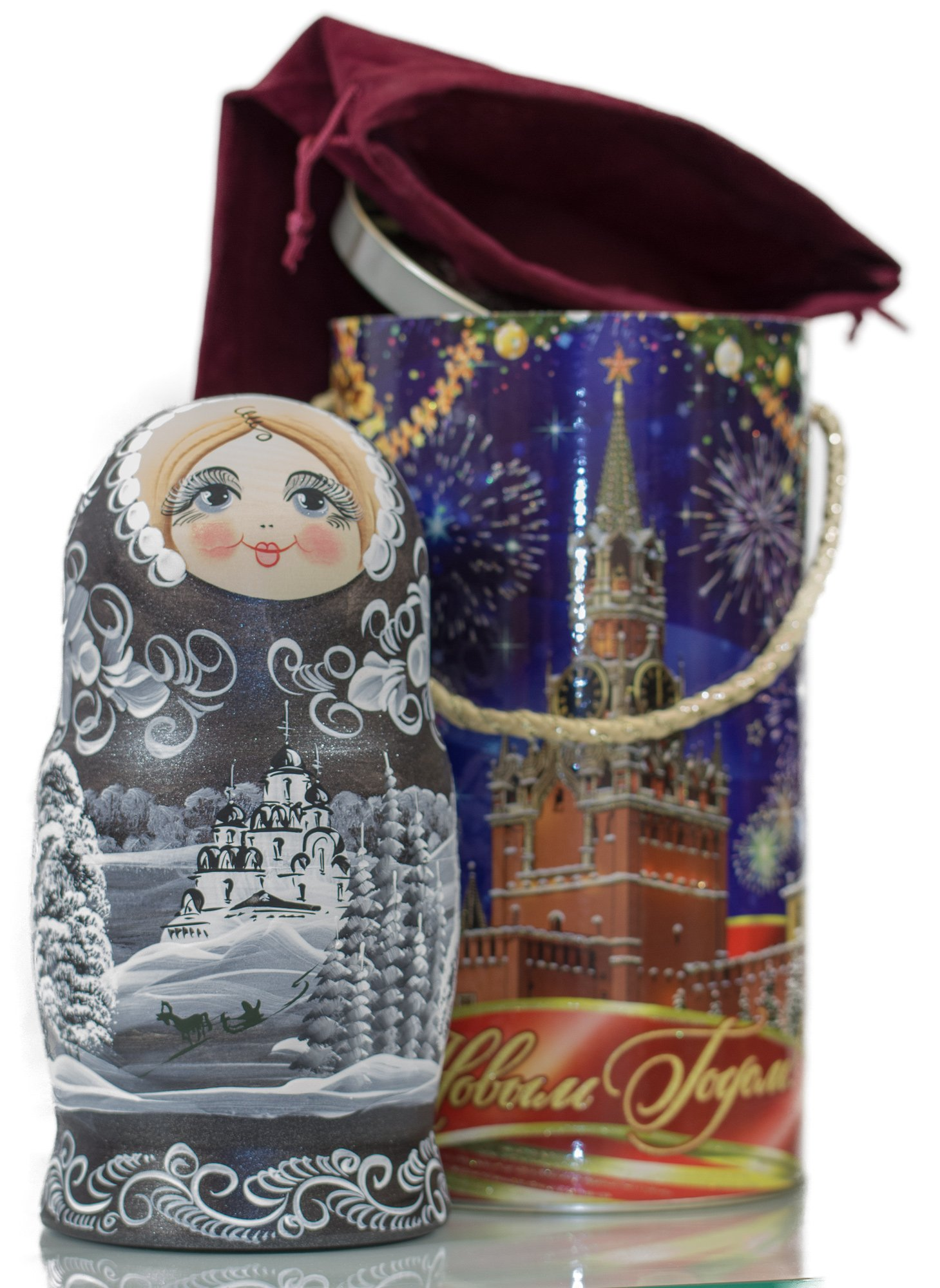 Russian Nesting Doll - ''Winter`s Tale'' - Hand Painted in Russia - MOSCOW KREMLIN GIFT BOX - Wooden Decoration Gift Doll - Traditional Matryoshka Babushka (8`` (7 dolls in 1), Silver Night) by craftsfromrussia (Image #5)