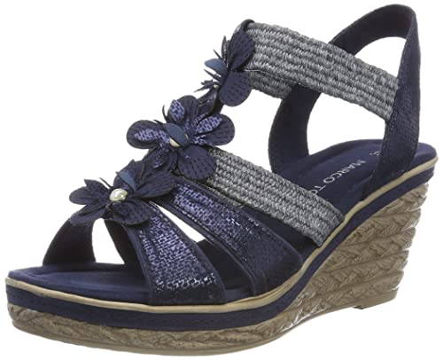 Marco Tozzi 28345, Sandalias de Talón Abierto para Mujer, Azul (Navy Comb), 39 EU