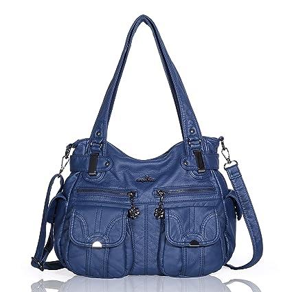 bec91fe271 Angelkiss 2 fermetures à glissière supérieures sacs à main multi poches sacs  à main en cuir lavé sacs à bandoulière 5739/1 (bleu): Amazon.fr: Bagages