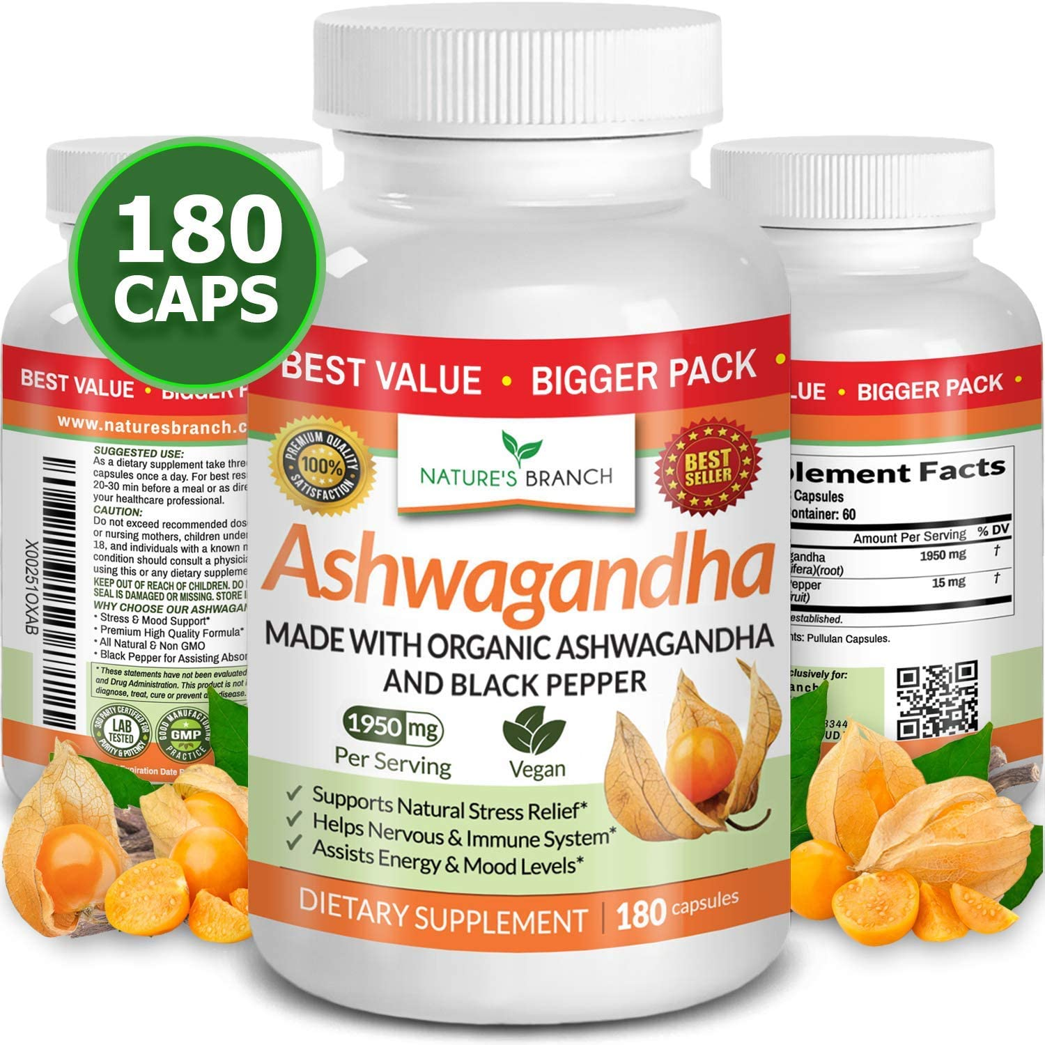 Organic Ashwagandha with Black Pepper - 180 Capsules - 1950mg Maximum Support for Stress Relief, Anti Anxiety, Sleep, Thyroid, Energy, Hair Pure Root Extract Powder Vegan Supplements for Men and Women