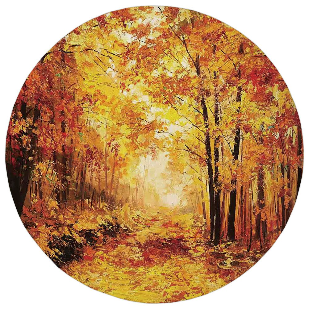 Round Rug Mat Carpet,Country Decor,Pale Shaded Autumn in the Forest Pastoral Calm Simple Life Nature Paint Away Art Theme,Orange Brown,Flannel Microfiber Non-slip Soft Absorbent,for Kitchen Floor Bath