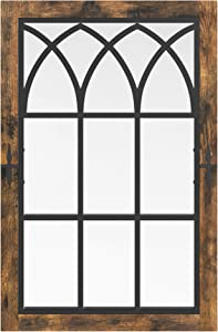 VASAGLE Wall Mirror, Large Rectangle Window Mirror, Home Decor for Living Room, Dining Room, Hallway, 24 x 0.8 x 37.4 Inches, Rustic Brown and Black ULWM201X01
