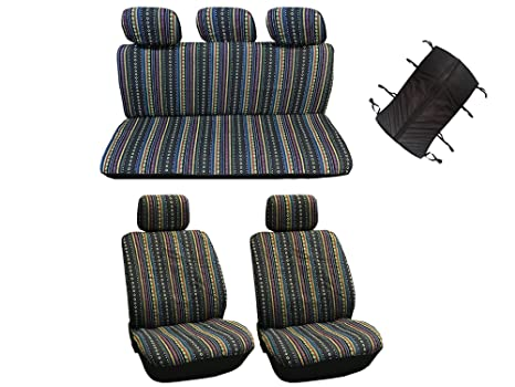 10 Pc Universal Cabo Saddle Mexican Blanket Seat Cover Set