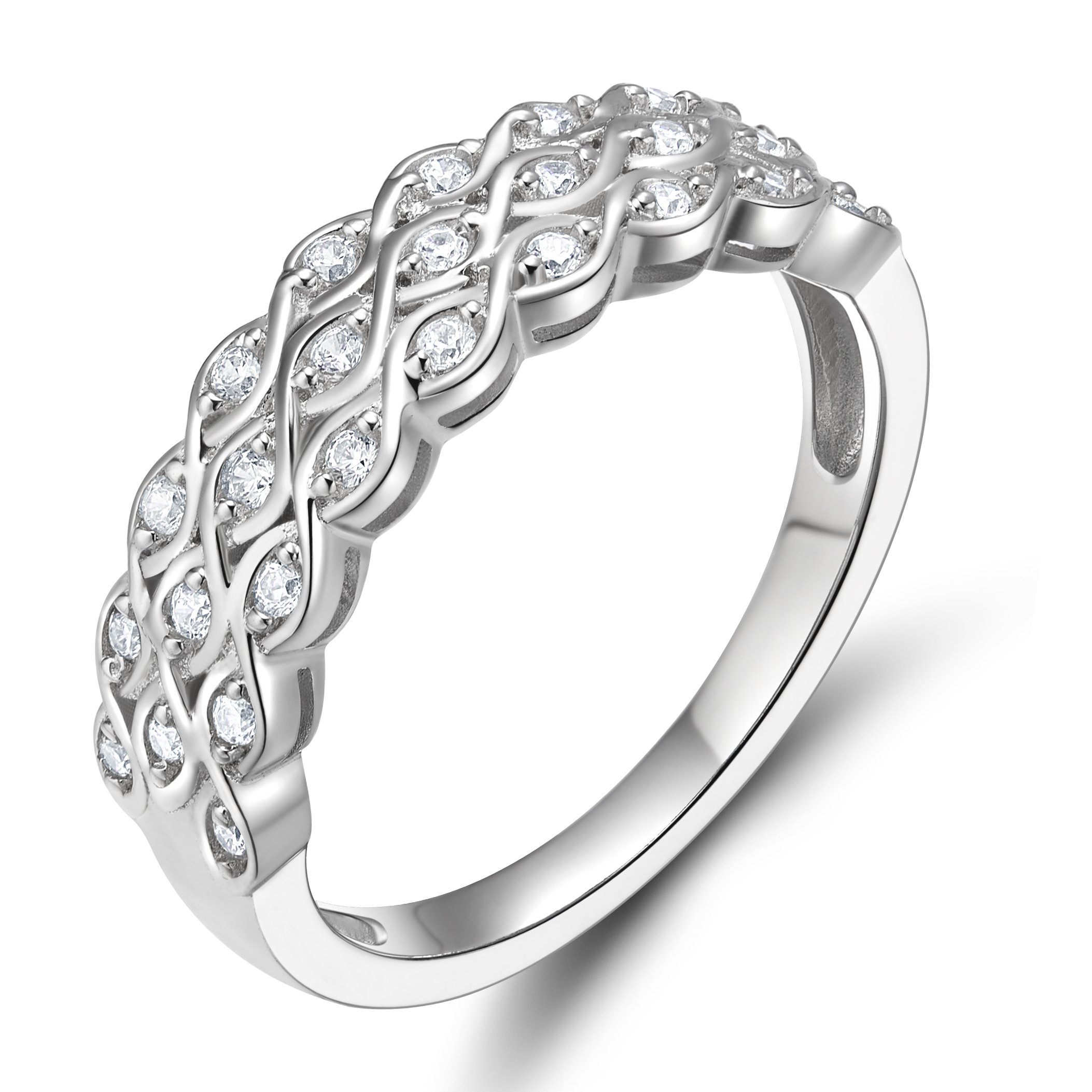 EAMTI 925 Sterling Silver Cubic Zirconia Eternity Band Multi Row Anniversary Ring for Women Size 9