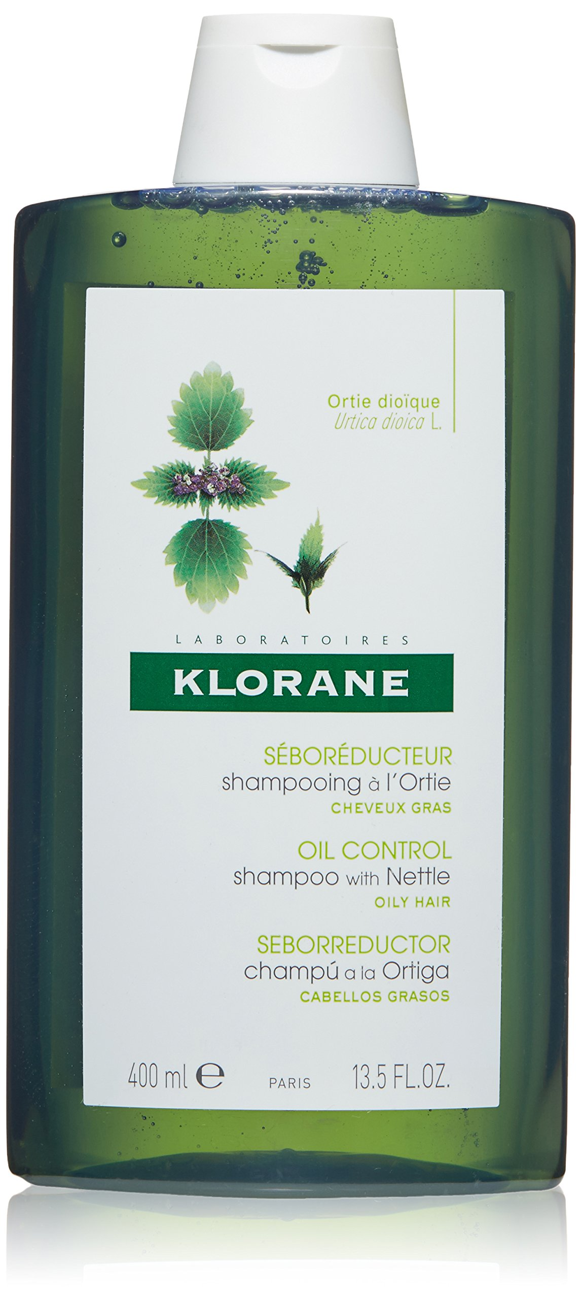 Klorane Shampoo with Nettle for Oily Hair and Scalp, Helps Regulate Oil Production, Paraben, Silicone, SLS Free, 13.5 oz. by Klorane
