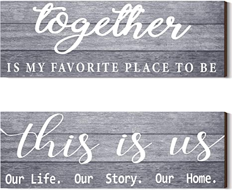 Gray This is Us Our Life Our Story Our Home Rustic Wood Wall Sign 6x18