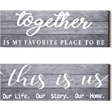 2 Pieces This is Us Our Life Our Story Rustic Print Wood Signs Together Rustic Wooden Wall Art Signs Farmhouse Entryway Signs