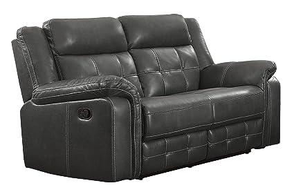 Brilliant Homelegance Keridge 65 Leath Aire Reclining Loveseat Gray Beatyapartments Chair Design Images Beatyapartmentscom