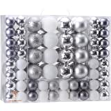 Sea Team 87 Pieces of Assorted Christmas Ball Ornaments Shatterproof Seasonal Decorative Hanging Baubles Set with Reusable Ha