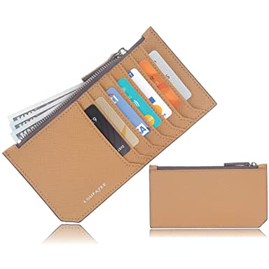 6d00fd7b Loufayee Ultra Slim Wallet for Women - RFID Credit Card Holder - Small  Wallets with Zipped Pocket