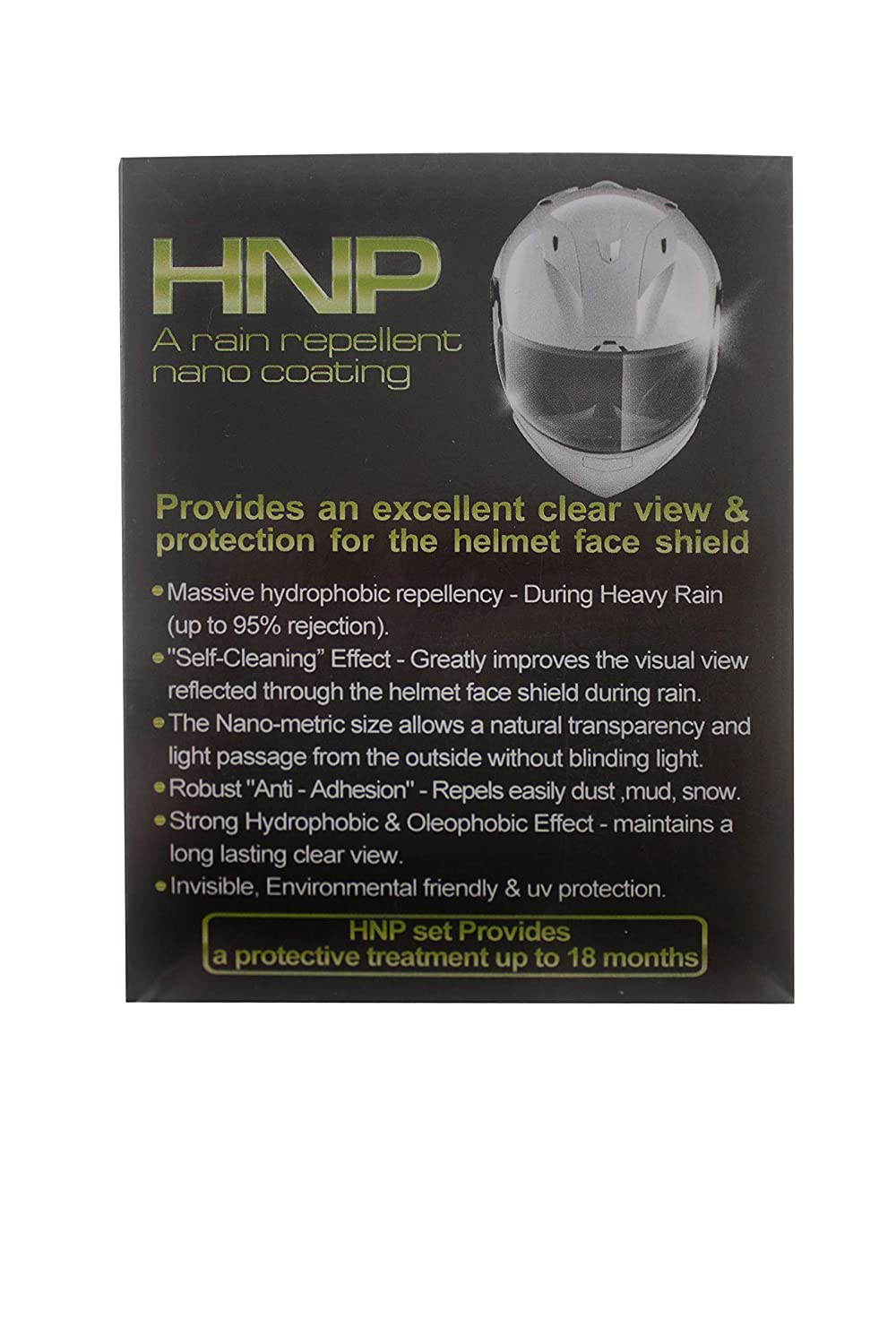 Nano HNP Water and Rain Repellent Wipe for Motorcycle Helmet Visor Self Cleaning Effect Repels Dust and Dirt - Increases Visibility and Safety [UV Durability] Must for Motorcycle Rain Gear NANO-Z COATING