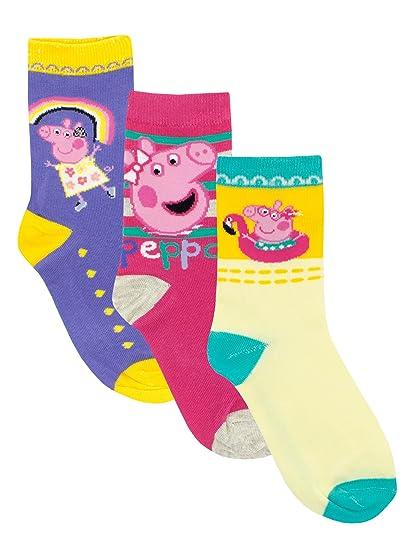 Peppa Pig - Calcetines Paquete de 3 para niñas - Peppa - 31/34: Amazon.es: Ropa y accesorios