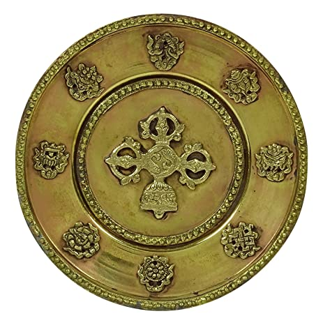Amazon.com: Traditional Indian Brass Gold Tone Wall Hanging Plate ...