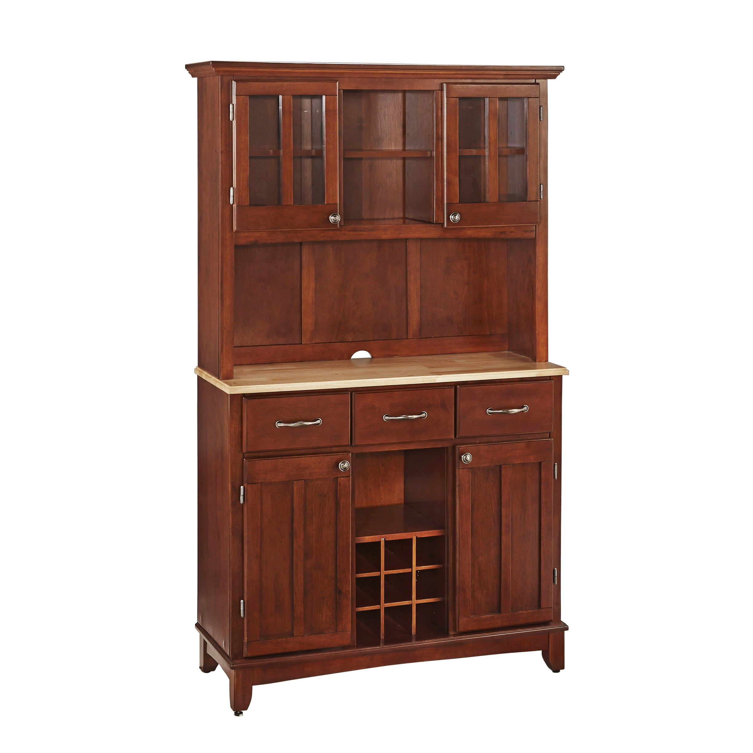 Buffet of Buffets Cherry with Natural Wood Top with Hutch by Home Styles by Home Styles