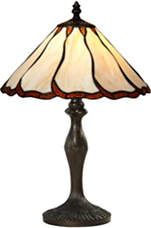 Tiffany Style Stained Glass Table Lamp Decorative Cream Beige Dark