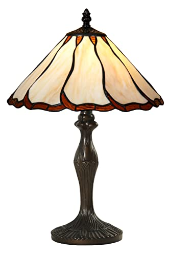 Tiffany Style Banker Table Lamp Stained Glass Small Accent Decorative Antique Lighting Coffee Table Desk Bedroom Living Room Bedside Reading Night Light Cream Amber Black Brown Colored 19 X 12 inch