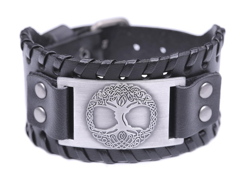 VASSAGO Vintage Tree of Life Yggdrasil Celtic Knotwork Cuff Handmade Metal Leather Talisman Bracelet