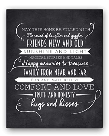Quot May This Home Quot Chalkboard Typography Wall Sign By Ocean Drop Designs The