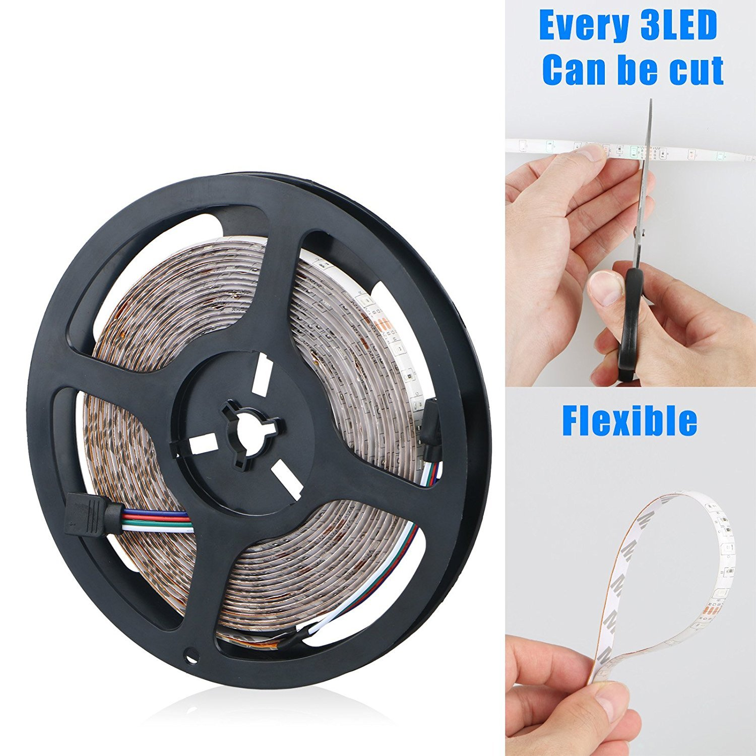 Flexible LED Strip Light Kit Linkstyle 16.4Ft LED Rope Lights 300 LED Tape Light, Color Changing RGB LED Strip Lights & 44Key Remote Controller and 12V Power Supply for DIY Bedroom Home Bar Party by LinkStyle (Image #5)