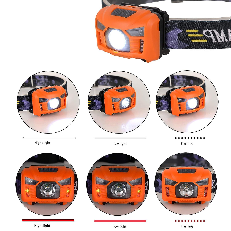 para correr pesca 250 l/úmenes 3 pilas AAA incluidas acampar luz blanca y roja senderismo Linterna frontal LED recargable por USB Wolfteth con sensor de manos libres