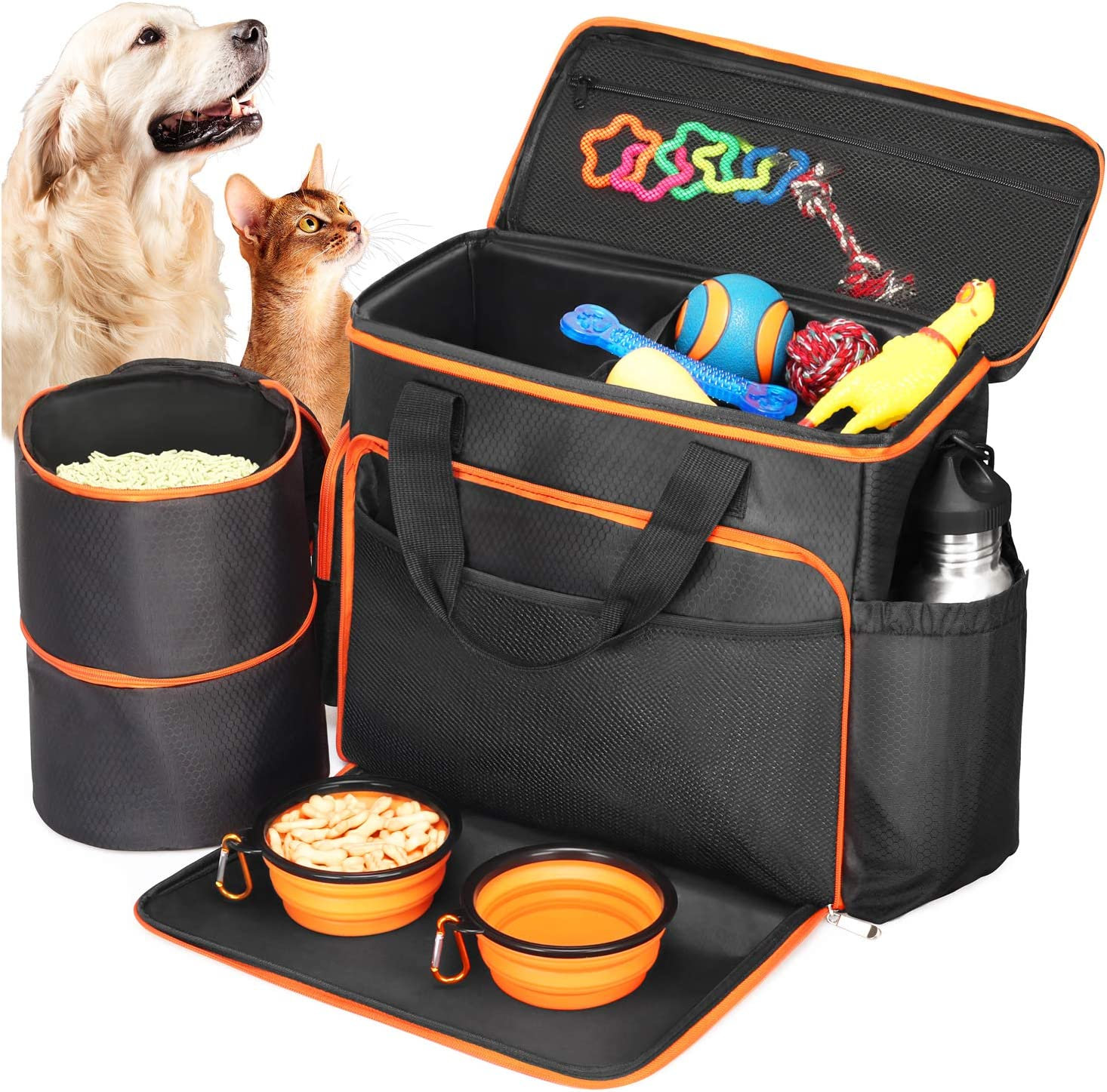 SEGMINISMART Babyltrl Dog Travel Bag - Airline Approved Pet Food Carrier  Bag for Dogs - Includes 1 Pet Travel Tote, 2 Dog Food Containers, 2  Collapsible Dog Bowls: Amazon.co.uk: Pet Supplies