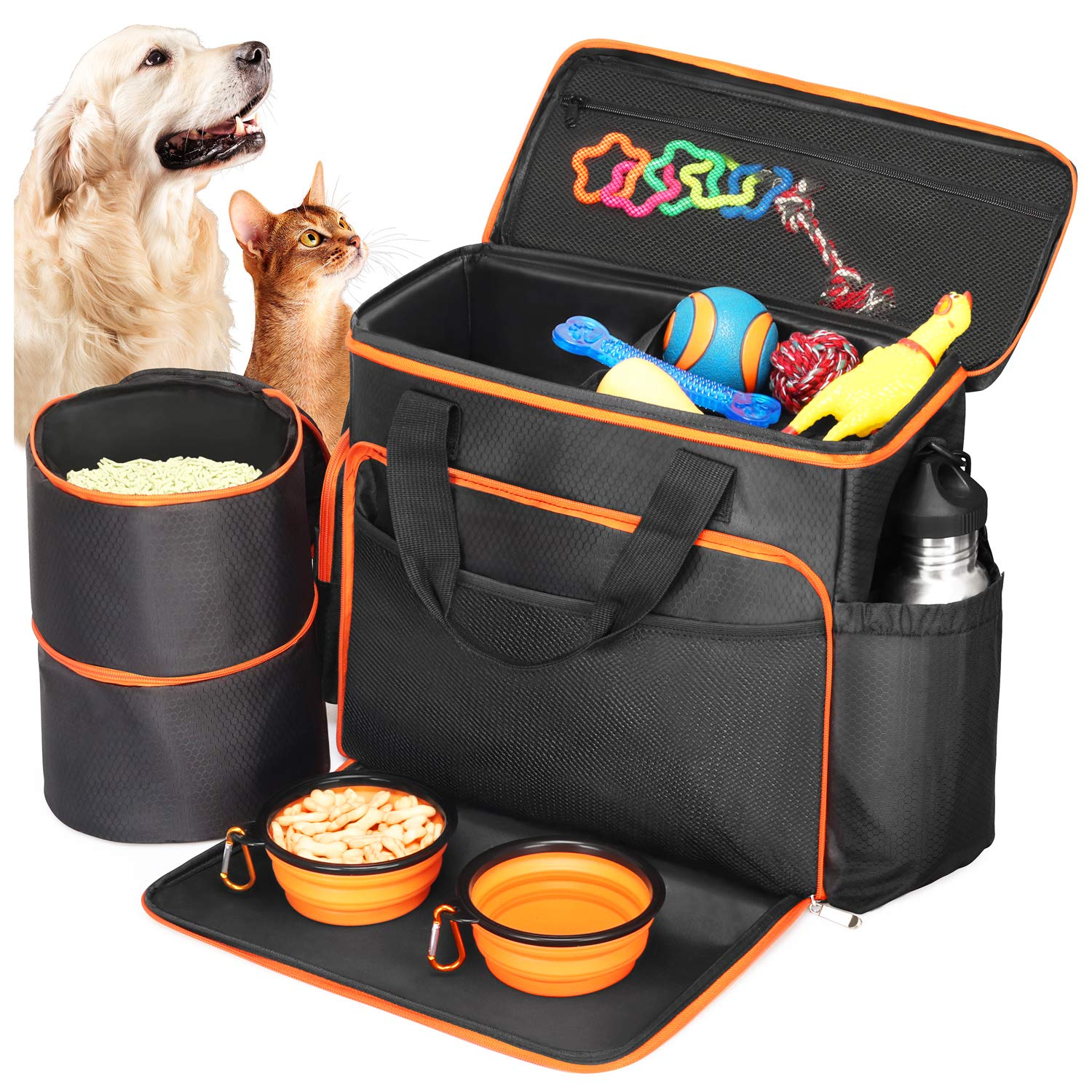 Babyltrl Dog Travel Bag - Airline Approved Pet Food Carrier Bag for Dogs - Includes 1 Pet Travel Tote, 2 Dog Food Containers, 2 Collapsible Dog Bowls by Babyltrl
