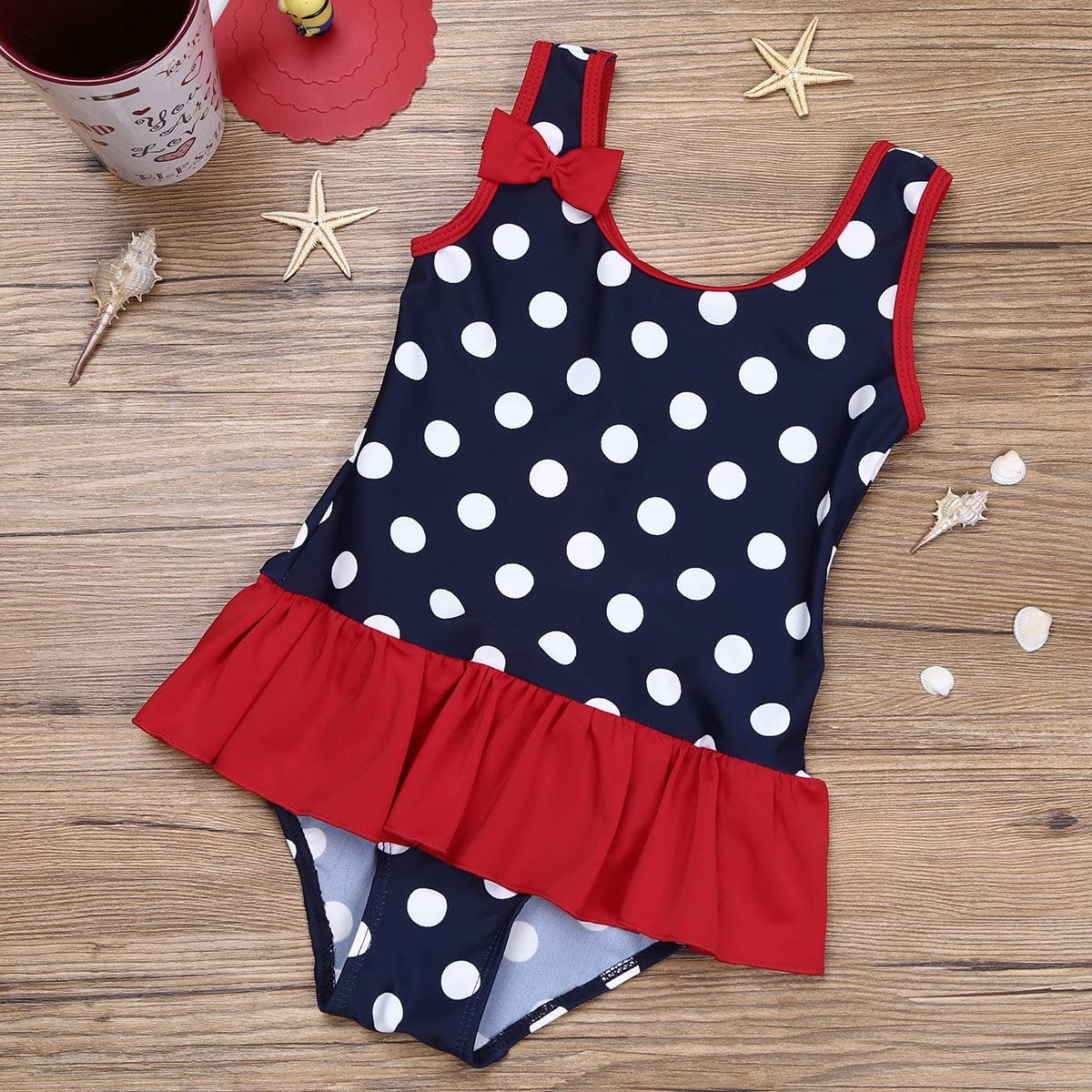 dPois Toddler Baby Girls One Piece Polka Dots Swimsuit Camisole All-Over with Ruffles Bikini Swimwear Bathing Suit