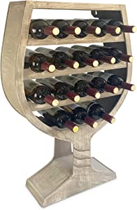CoTa Global Modern Wine Glass Shaped Wall Mounted Wine Rack - 18 Bottles Freestanding Wooden Wine Holder, Hanging Bottle Rack or Floor Stand, Wine Storage Shelf Organizer for Wine Bar & Home Decor