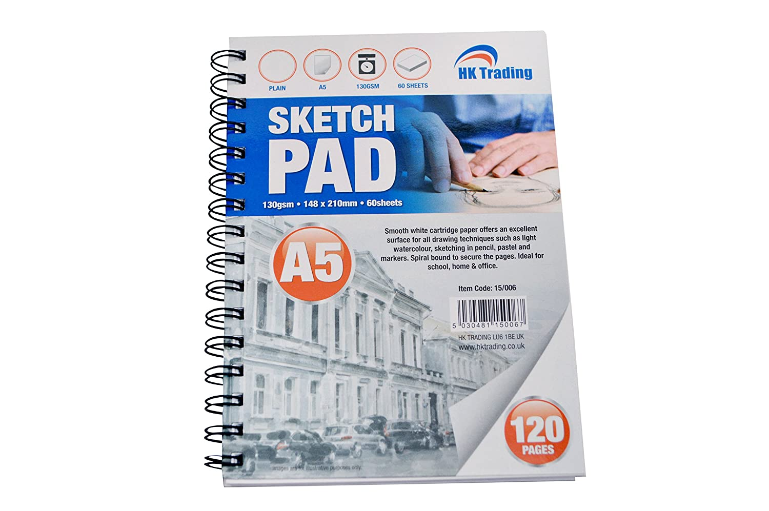 A5 DRAWING SKETCH PAD - 130gsm 60 sheets perforated thick plain cartridge paper - FREE DELIVERY HK TRADING