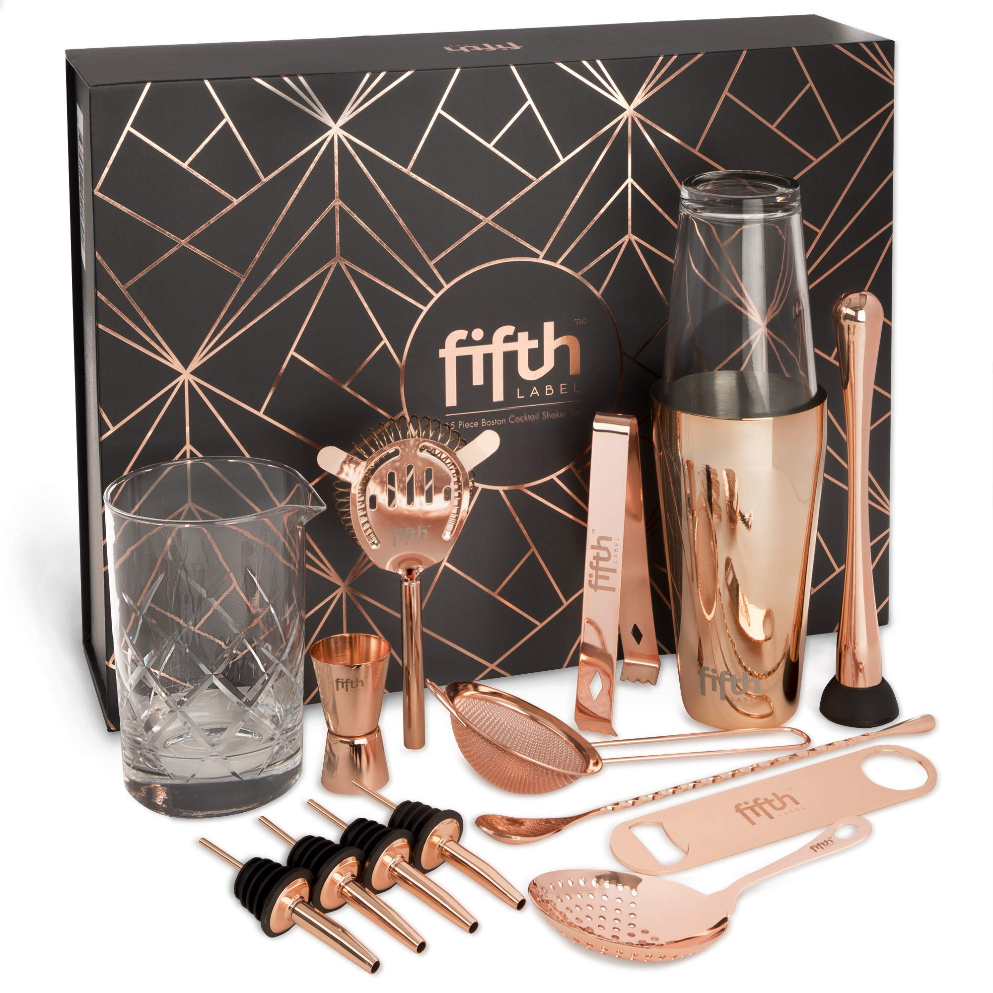 Copper Cocktail Shaker Set​ for Bar Kit, Stainless Steel ​& Glass - ​Complete​ 15 Piece ​Boston Bartending Mixology Kit​ with Tin Shakers, Strainers, Jigger, Muddler, and Accessories for Mixed Drinks by Fifth Label (Image #1)