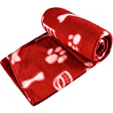 New Pet Touch Soft Fleece Pet Blanket Dogs Puppy Cat Kittens Blankets Paws & Bones Print ((100 X 150) cm, Red (White Paws))