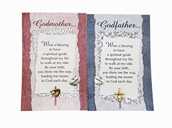 godmother and godfather pin sentimental card with two heart shape charms for grandparents godfather and godmother
