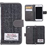 """iPhone 6/6s/7 Flip Case MONOJOY Purse Card Cover Harris Tweed Wool Surface Fabric and Synthetic Suede Leather Folio Book Cover with Card Business Office Commercial Slot Magnetic Clasp Handmade Retro (iPhone 6/6S ( 4.7"""" ), Grey)"""