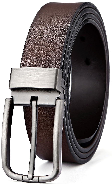 Men's Belt, Bulliant Leather Belt for Men with Pin Buckle 1 3/8, Trim to Fit Men' s Belt