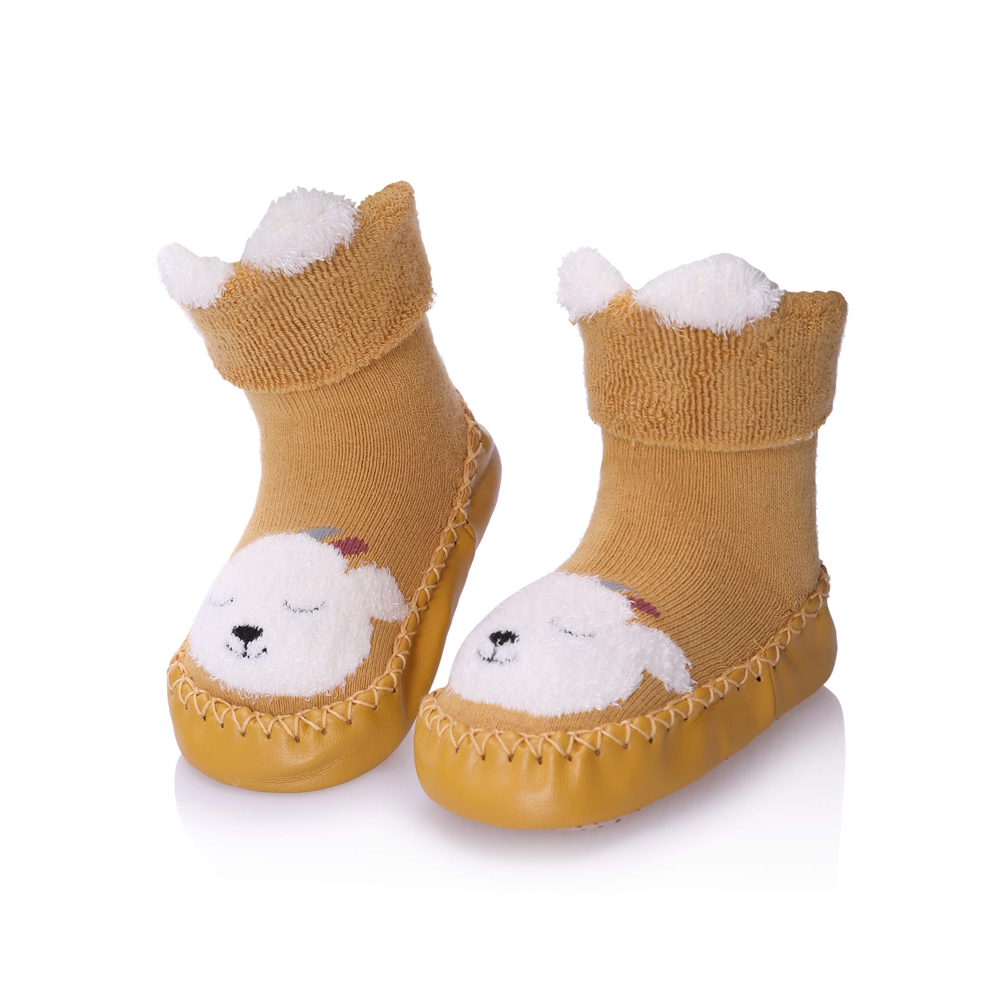 Baby Toddler Boys Girls Winter Non-slip Animal Slipper Shoe Socks Moccasins
