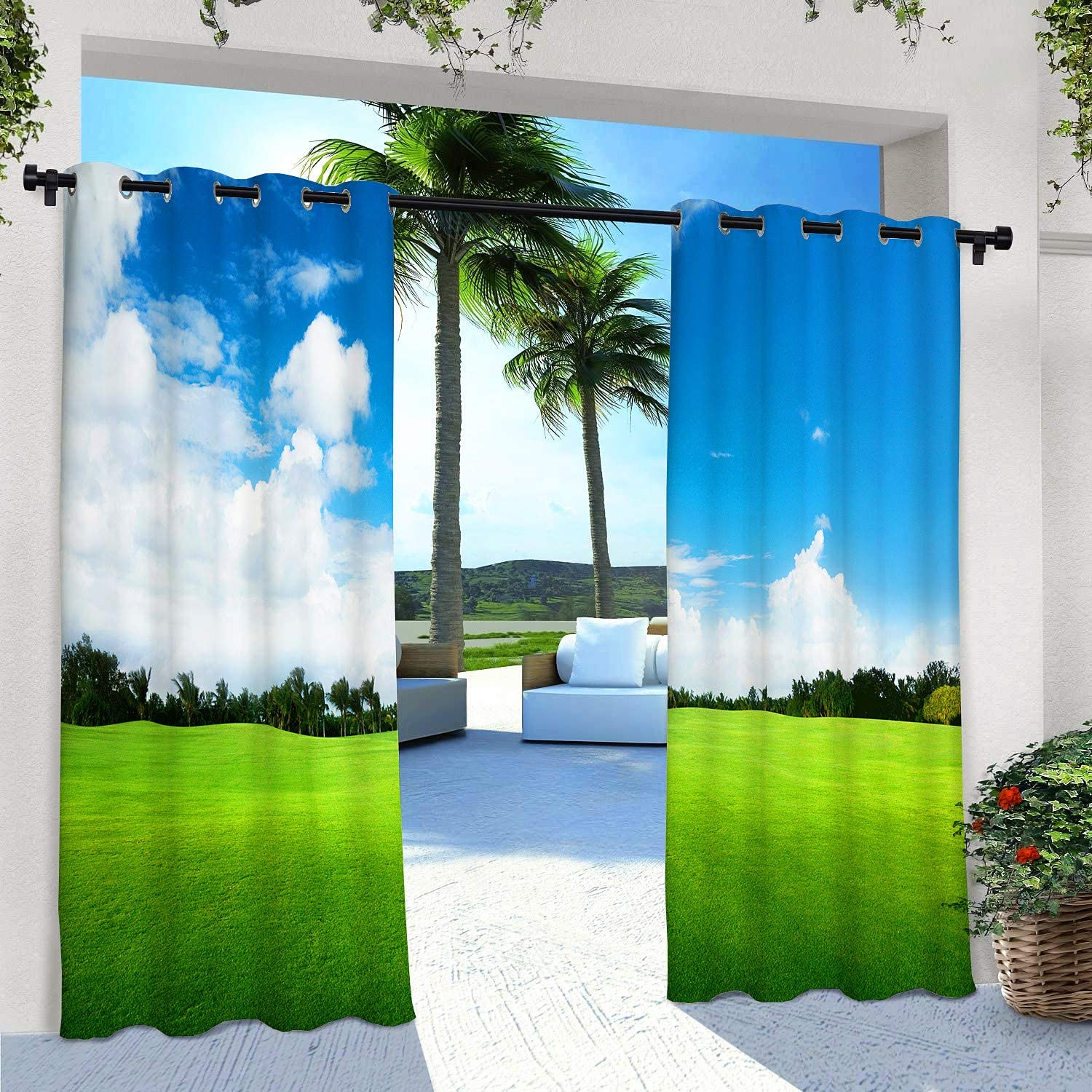 Privacy Curtain for Pergola//Deck//Gazebo//Porch//Cabana 108 X 84 Inch Eyelet Curtains with Palm Tree Grassland Natural Landscape Pattern ANHOPE Indoor//Outdoor Curtains for Patio Waterproof 2 Panels
