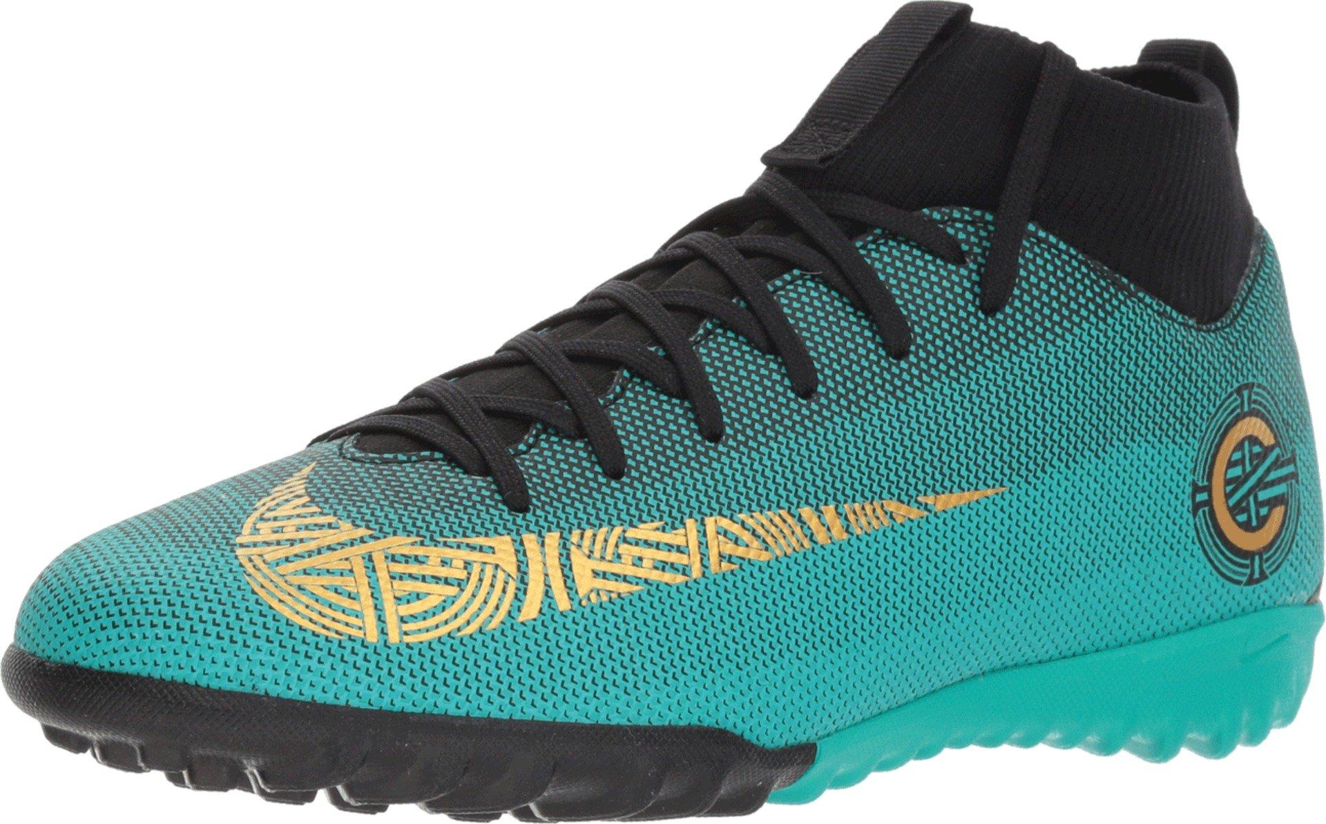 7efeeedd5108 Galleon - Nike JR SPEFLY 6 Academy GS CR7 TF Boys Soccer-Shoes  AJ3112-390 6Y - Clear Jade MTLC Vivid Gold-Black