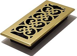 Decor Grates SPH410 Floor Register, 4x10, Polished Brass Finish