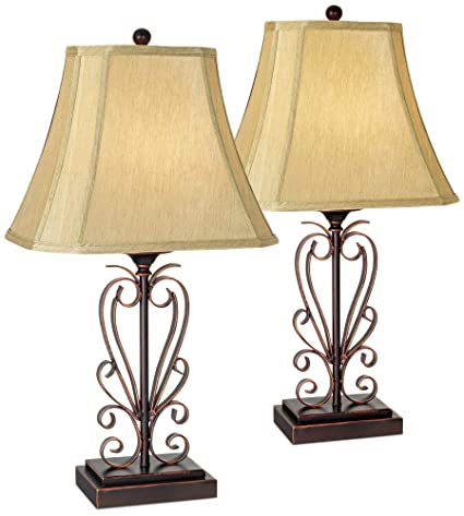 Traditional Table Lamps Set of 2 Iron Bronze Scroll Faux Silk Rectangle  Shade for Living Room Family Bedroom - Franklin Iron Works