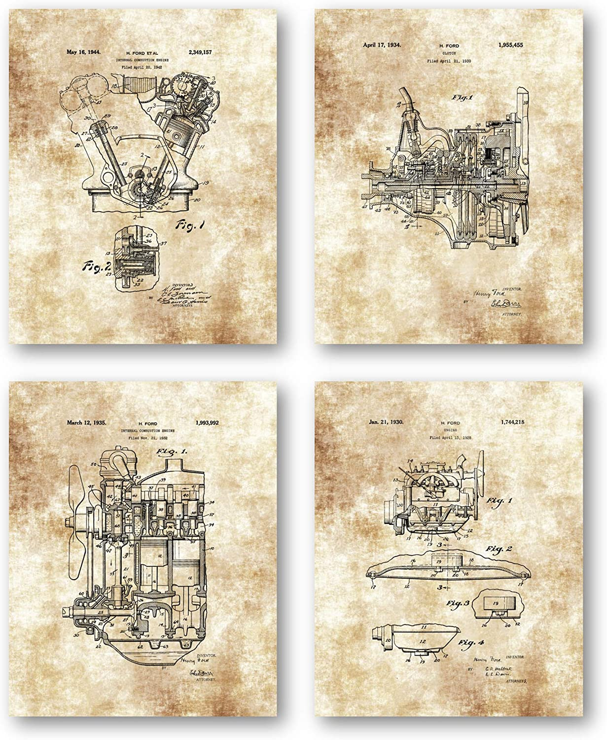 Ramini Brands Original Henry Ford Patent Art Drawings - Set of 4 8 x 10 Unframed Prints - Great Gift for Auto Mechanics, Shops or Garages- Mancave Decor
