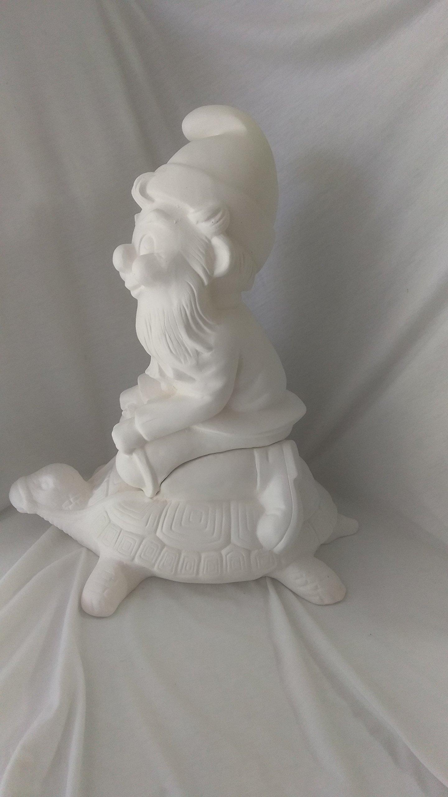Gnome on Turtle 12'' Ceramic Bisque