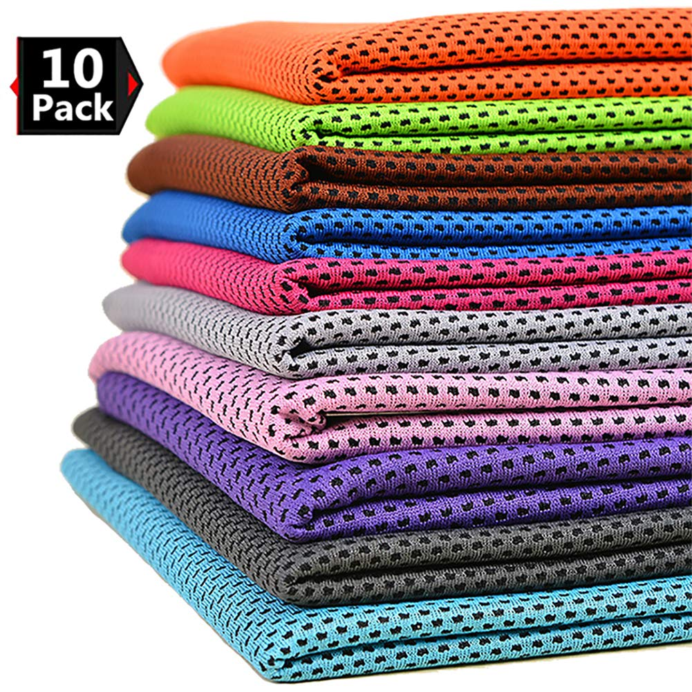 Peicees 10 Pack Microfiber Cooling Towels for Neck Sports Gym Workout Cooling Towel, Fast Drying Super Absorbent Compact Lightweight for Climbing Camping Travel Beach Swimming Backpacking